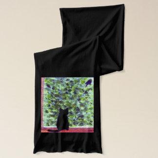 猫の芸術の黒猫の野鳥観察 スカーフ