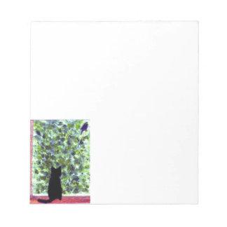猫の芸術の黒猫の野鳥観察 ノートパッド