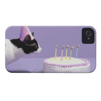 猫の蝋燭を吹く身に着けている誕生日の帽子 Case-Mate iPhone 4 ケース