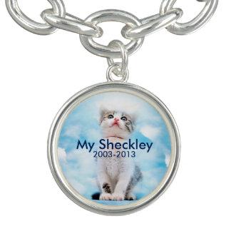 猫の記念の円形のチャームブレスレットは、めっきされて銀を着せます チャームブレス