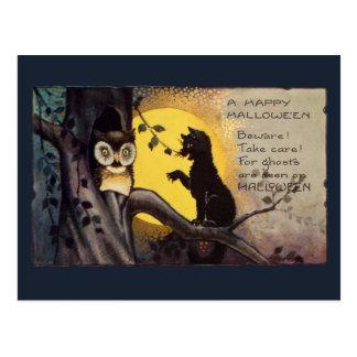 猫の警告のフクロウのヴィンテージのハロウィンの郵便はがき 葉書き
