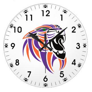 猫の足のプリントが付いているオレンジおよび紫色のトラの頭部 ラージ壁時計