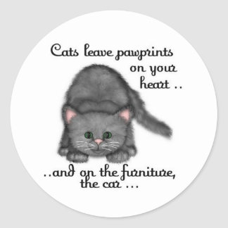 猫の足のプリント ラウンドシール