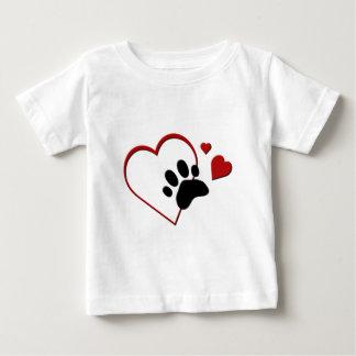 猫の足トラックハートはI私の猫の乳児Tを愛します ベビーTシャツ