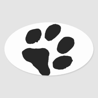 猫の足跡 楕円形シール