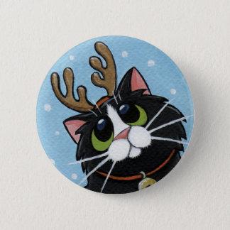 猫の身に着けているトナカイの(雄ジカの)枝角-クリスマス猫の芸術ボタン 5.7CM 丸型バッジ