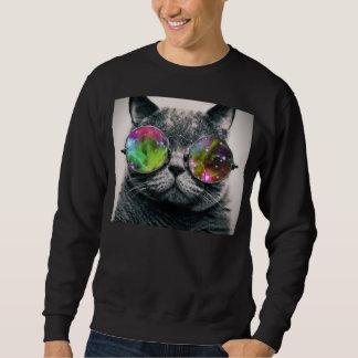 猫の身に着けている飛行士のサングラス スウェットシャツ