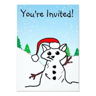 猫の雪だるま カード