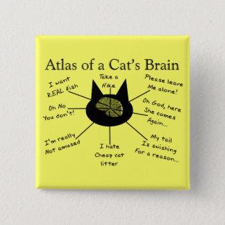 猫の頭脳の地図書 5.1CM 正方形バッジ
