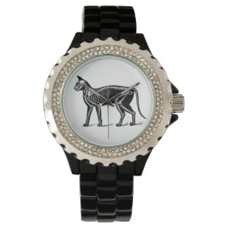 猫の骨組ヴィンテージ芸術のエレガントで黒い腕時計 腕時計