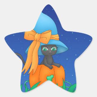 猫の魔法使いのステッカー 星シール