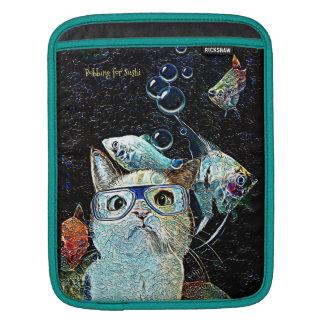 猫の魚の寿司のおもしろいなファンタジーの縦のiPadの袖 iPadスリーブ