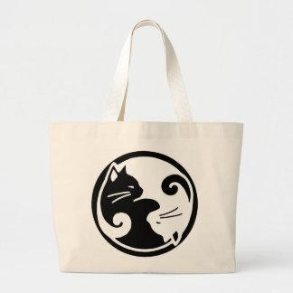 猫の鳴き声のトートバックの陰陽猫/タオ ラージトートバッグ