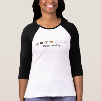 猫の鳴き声のローディングの文字と荷を積んでいるかわいい猫 Tシャツ