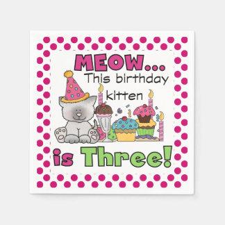 猫の鳴き声の誕生日の子ネコの第3誕生日の紙ナプキン スタンダードカクテルナプキン