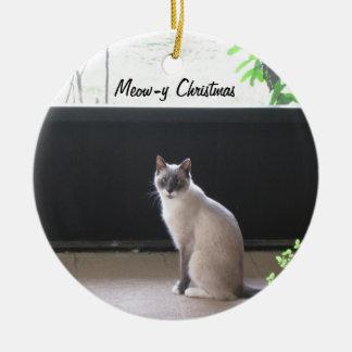 猫の鳴き声yのクリスマスの装飾を持って下さい セラミックオーナメント