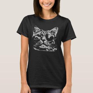 猫のeyepatchの女性の黒のTシャツのトレンディーの衣服 Tシャツ