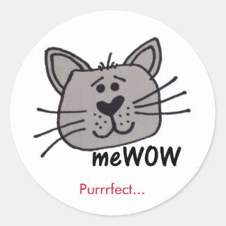 猫のmeWOWのよい仕事の報酬のカスタマイズ可能なステッカー ラウンドシール