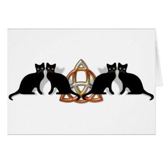 猫のPentgagramの炎Triquetra カード