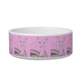 猫のRagdollのポートレートのペットボウル-モダンなピンク ボウル