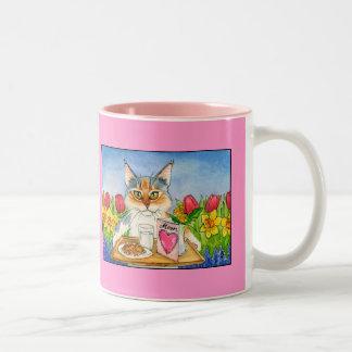 猫はピンクの母の日のマグを愛します ツートーンマグカップ