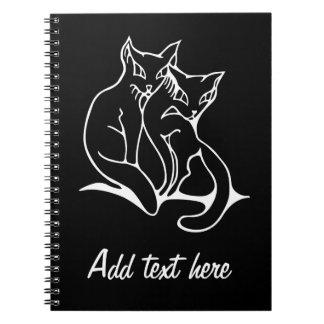 猫は愛元のスケッチでつなぎます(逆になる) ノートブック