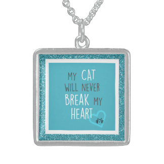 猫は私のハートの優れたな正方形のネックレスを壊しません スターリングシルバーネックレス