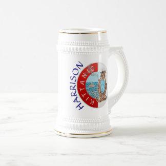 猫を持つステインの名前入りな白人の最も最高のなボーイフレンド ビールジョッキ