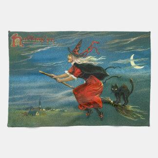 猫を持つハロウィンの飛行魔法使い キッチンタオル