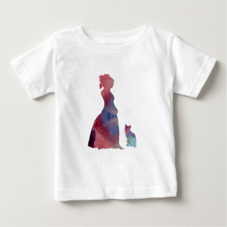 猫を持つ女性 ベビーTシャツ