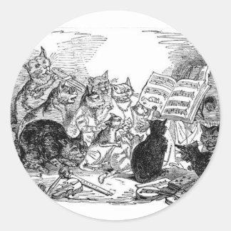 猫を歌うヴィンテージ ラウンドシール