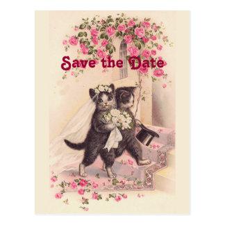 猫を結婚するヴィンテージは日付の郵便はがきを救います ポストカード