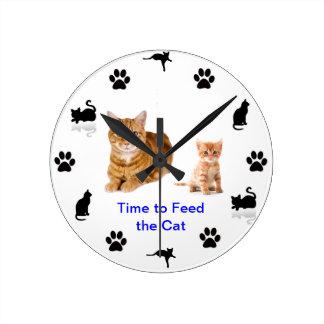 猫を食べ物を与えるために(2)時間を計って下さい ラウンド壁時計