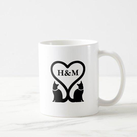 猫ハート(名入れ) コーヒーマグカップ