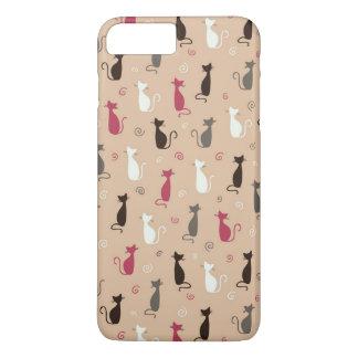 猫パターンピンク iPhone 8 PLUS/7 PLUSケース