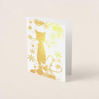 猫ホイルのブランクの中のメッセージカード 箔カード
