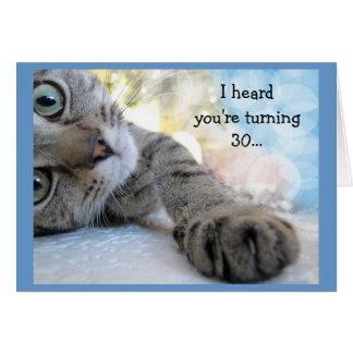 猫動物のユーモアのおもしろいの第30誕生日 カード