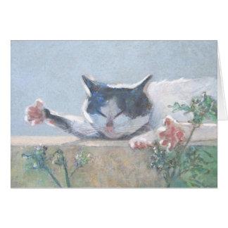 猫及びゼラニウムの挨拶状 グリーティングカード