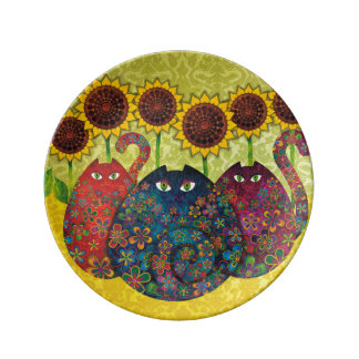 猫及びヒマワリの磁器皿 磁器プレート