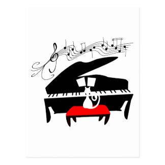 猫及びピアノ ポストカード
