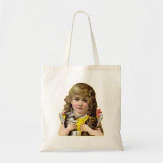 猫及び犬の芸術のヴィンテージのビクトリアンな小さな女の子 トートバッグ
