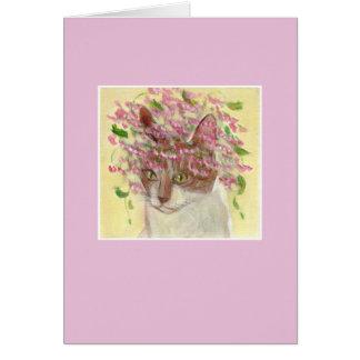 猫及び花 グリーティングカード
