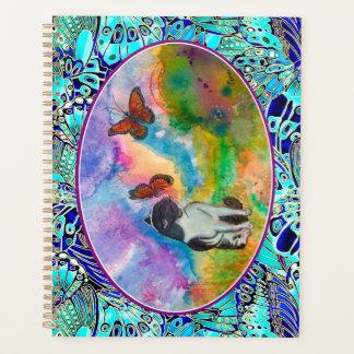 猫及び(昆虫)オオカバマダラ、モナークによって飛ぶフレーム(2つのサイズから選んで下さい) プランナー手帳