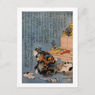 猫好きな絵師の自画像、Kuniyoshi、猫を好む国芳ペインター はがき
