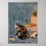 猫好きな絵師の自画像、Kuniyoshi、猫を好む国芳ペインター ポスター