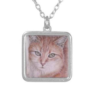 猫好きのための美しい虎猫猫の芸術のスケッチ シルバープレートネックレス