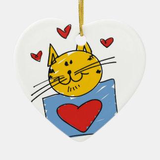猫好きのアートワーク セラミックオーナメント