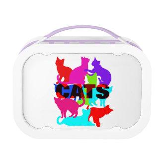 猫好きのカラフルなネコ科のテーマ ランチボックス