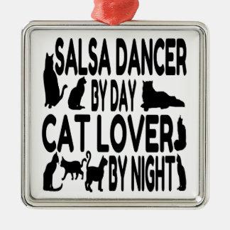 猫好きのサルサのダンサー メタルオーナメント