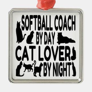 猫好きのソフトボールのコーチ シルバーカラー正方形オーナメント